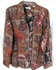 Coldwater Creek Patchwork Print Shaped Stretch Blouse