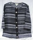 CJ Banks 3/4 Slv Novelty Button Marled Stripe Cardigan!