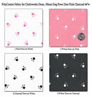 """POLYCOTTON BABY CLOTH DRESS BEDDING FABRIC CUTE PUPPY DOG PAW PINK CHARCOAL 44""""W"""