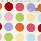 COTTON UPHOLSTERY FABRIC BIG POLKA DOT PINK GREEN BLUE