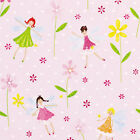 COTTON CUTE GIRL FABRIC SHABBY FLORAL STRIPE PINK GREEN