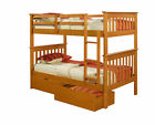 Twin over Twin Mission Bunk Bed - Honey -Kids Furniture