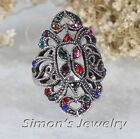 Cute VTG Ring with Multi-colored Crystal JV054 ALL SIZE