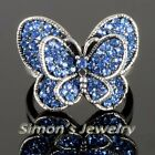 Vtg Butterfly Ring W/ Blue Crystal JV167 ALL SIZE