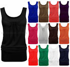 New Womens Long Jersey Vest Ladies Sleeveless Gathered Casual Top inc Plus Sizes