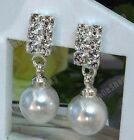 U CLIP ON diamante crystal RHINESTONE&PEARL EARRINGS small drop elegant pearls