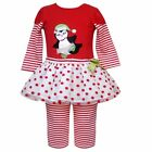 Rare Editions Christmas Red Stripe PENGUIN Tutu Set 12-18-24M New With Tag