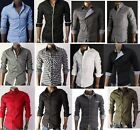 Slim Casual fit Dress Mens Shirt Henley S M L XL Black Blue Red Khaki White Grey