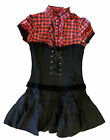 Gothic Lolita Punk High Neck Black and Red Mini Dress 8-10