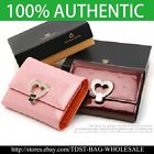 [OMNIA]Crystal Ladies Wallet Genuine Leather Trifold Purse  ID Card Coins Heart  image