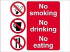 NO SMOKING, DRINKING, EATING - warning signs - sign - PR083 sticker / rigid