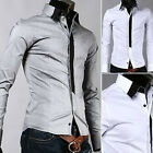 NWT Mens Casual Slim fit Stylish Dress Shirt  M L XL XXL Gray White  h186