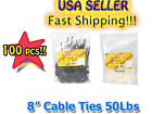 100 PACK 8 INCH MARKER LABEL ZIP CABLE TIES 50 lbs Black / White
