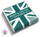 50 Personalised Shabby Chic Vintage Union Jack Flag Wedding Favour Chocolates