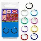 Punk Goth Cheater Fake Nose Lip Belly Tragus Piercing Silver Colored Hoop Ring