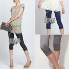 Shiny Silk Cotton stretchy Short side drape Leg Tights  pants 3 colours p074