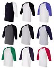 Anvil Mens S M L XL 2XL 3/4 Sleeve Raglan Baseball Jersey T-Shirt Team Sport Tee