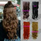 Free Shipping Synthetic Long 5 Clips On Hair Piece Extension All Color Wavy 3925