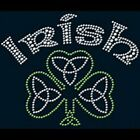 Irish Shamrock Hoodie, Rhinestones Hooded Sweatshirt, 50/50 Unisex SM-3XL