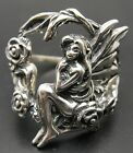 STYLISH STERLING SILVER RING SOLID 925 FAIRY WINGS FLOWERS NEW SIZE H-V EMPRESS