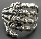 STERLING SILVER RING SOLID 925 DEATH HAND BIKER SKULL GOTHIC NEW SIZE L - X