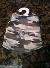 Tan Camo Camouflage Dog Tank Top Shirt Clothes+ Silver Nail Head Skull Patch