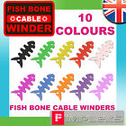 FISH BONE IPOD EARPHONE CABLE TIDY WINDER 10 COLOURS HEADPHONE CORD SILLICONE