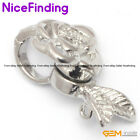 Magnet Clasps Flower White Gold Plated Jewelry Making Necklace Findings 14x23mm