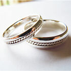 Solid 925Sterling Silver Rope Comfort Fit Wedding band Couple Rings-2pc All Size
