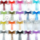125PCS Organza Sheer Chair Sashes Wedding Party Cover Banquet Bows Colours Deco