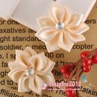 FREE SHIP 100pcs Nice Milky Satin Ribbon Flower With Beads Appliques HA7097
