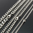 "3mm, 6mm, 9mm width Stainless Steel Curb Chain Necklace 20"", 24"", 30"", 36"" Inch"