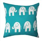 Ele the Elephant True Turquoise Decorative Throw Pillow - Lumbar or Square