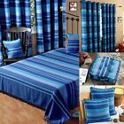 Homescapes Blue Large Cotton Stripe Sofa Bed Throw Blanket Cushion Curtains