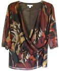 Coldwater Creek Faux Wrap Mesh Blouse in Abstract Patterns - Made in U.S.A!