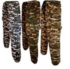 Mens Army Combat Camo Camouflage Jogging fleece Bottoms Trousers  S- XXL
