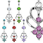 316L Press Fit Jeweled Navel belly Ring Gem Shrine Dangle