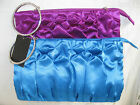 LADIES FAUX SATIN BLUE OR PURPLE EVENING BAG WITH DIAMANTE BANGLE