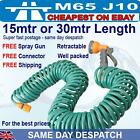 100 foot /50 ft Retractable green garden hose pipe coil 15metre or 30 metres gun