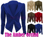 LADIES PLUS SIZES LONG RUCHED SLEEVE BUTTON PONTE BLAZER JACKET COAT 16 18 20