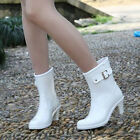 Womens Shoes Rain Boots Galoshes Block High Heels Ankle Boot Rubber Cowboy Boots
