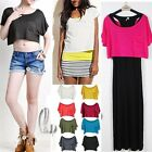Celeb Style Soft Scoop Neck Crop Loose Top Tee T-Shirt  SZ S-XL T085
