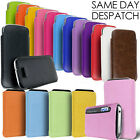LEATHER SUEDE PULL TAB CASE COVER POUCH FITS VARIOUS PHONES APPLE SAMSUNG HTC