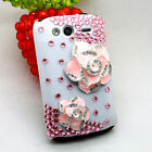 3D Bling Diamond Pink Camellia Case Cover For HTC Wildfire S A510e G13 Phone