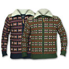Mens Jumper Brave Soul Knit Top Sweater Fleece Lined Padded Cardigan Zip Warm Co