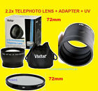 2.2x TELEPHOTO LENS 72mm+UV FILTER+ADAPTER -> CAMERA NIKON COOPIX P600 P610 B700