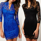 Women British Lace Sexy Party Office Sleeve Dress Size C0092#