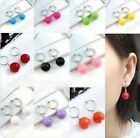 CLIP ON bead DROP EARRINGS silver plated red,blue,green,black,pink,white,purple