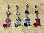Owl Dangle CZ Gem Flower Rose Belly Ring Navel Naval Clear, Blue, Pink, Red