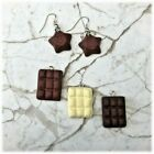 Kitsch Magic Stars & Chocolate Bars Earrings Silver Plated hooks